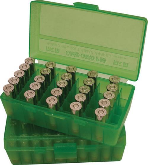 MTM Case-Gard 50-Series Handgun Ammo Box 9mm to .380 ACP, Clear Green, 50rd