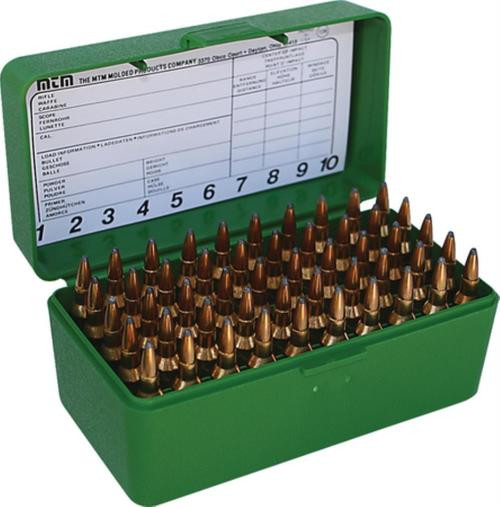 MTM Case Gard Case-Gard 50 Rifle Ammo Boxes .22 Bench Rest & 6mm PPC Mechanical Hinge Green