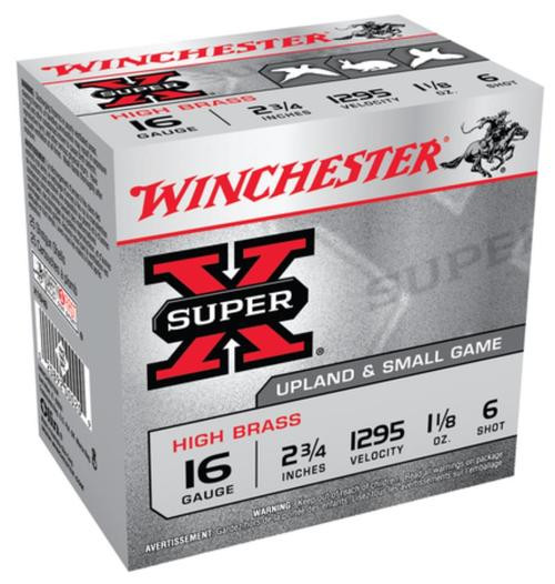 "Winchester Super-X High Brass 16 ga 2.75"" 1-1/8 oz 6 Shot 25Box/10Case"