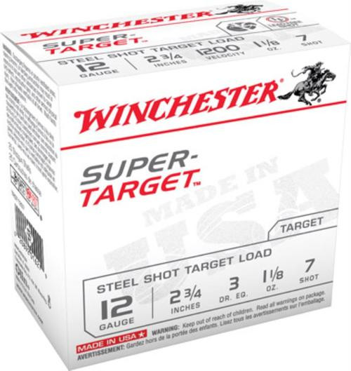 "Winchester Super Target Steel 12 Ga, 2.75"", 1-1/8oz, 7 Shot, 25rd/Box"