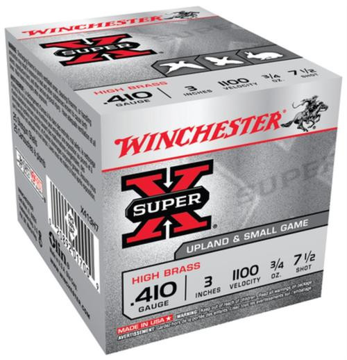 "Winchester Super-X High Brass .410 Ga, 3"", 1100 FPS, .75oz, 7.5 Shot, 25rd Box"