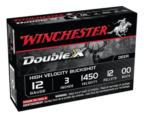 Winchester Double X High Velocity Buckshot Copper Plated Buffered 12 Gauge 3 Inch 1450 FPS 12 Pellets 00 Buck