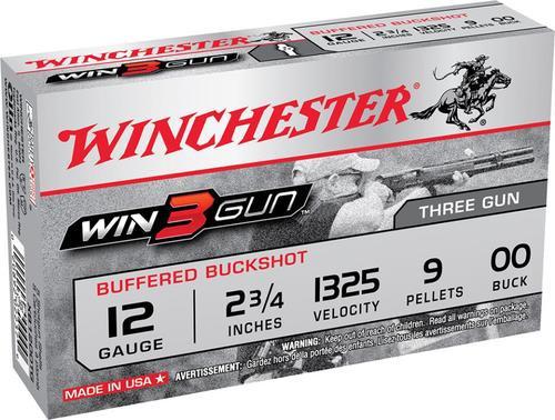 """Winchester Win3Gun 12 Ga, 2.75"""", 9 Pellets, 00 Buck, 5rd/Box"""