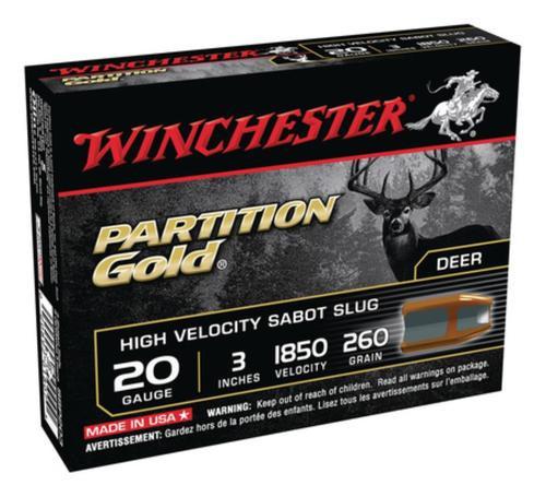 Winchester Partition Gold 20 Gauge, 3 Inch, 1850 FPS, 280gr, Sabot Slug, 5rd/Box