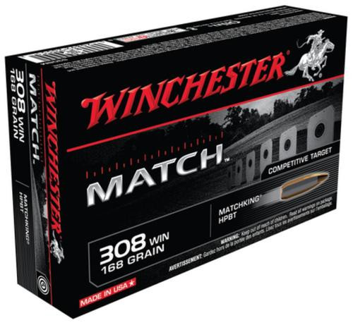 Winchester Boattail Match .308 Winchester 168gr, Sierra MatchKing Boattail Hollow Point 20rd Box