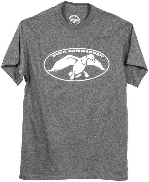 Duck Commander White Logo Charcoal T-Shirt, XXL Cotton