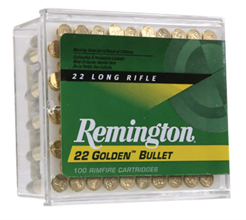Remington High Velocity Golden Bullets 22LR 40GR HV Plated Round Nose 100 Rd Box