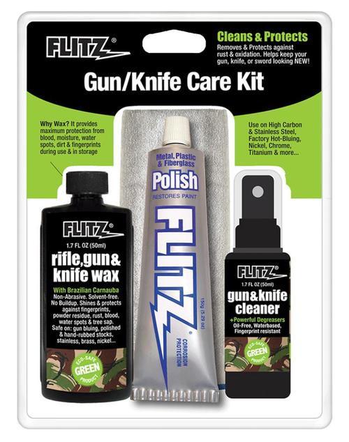 Flitz Gun & Knife Care Kit 4 Pieces, Polish/Cleaner/Wax/Cloth Universal