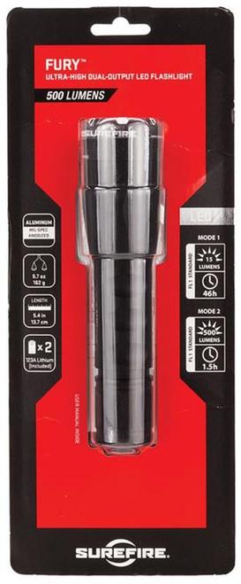 Surefire P2X Fury LED 15/500 Lumens CR123A (2) Aluminum Black