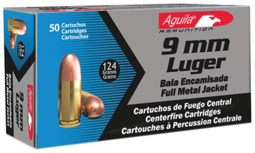 Aguila 9mm 124gr, FMJ, 50rd Box