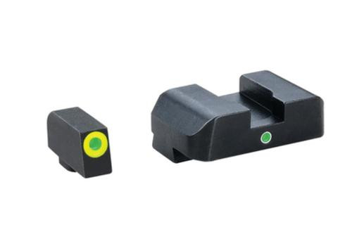 AmeriGlo Pro i-dot Set For Glock 17/19 Front ProGlo Green Tritium With Lime Outline Single Dot Green Rear Sight