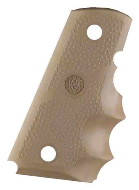 Hogue 1911 Officers Model Rubber Grip, Finger Grooves Desert Tan