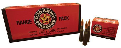 Century Red Army Standard 7.62x54R 148gr, FMJ, Romania mfr, Berdan primed, non-corrosive, steel case, 20rds/box