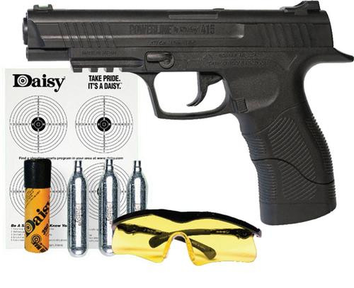Daisy Powerline 415 Air Pistol Kit, SA CO2 Powered, .177 BB, 21rd Synthetic Stock, Black