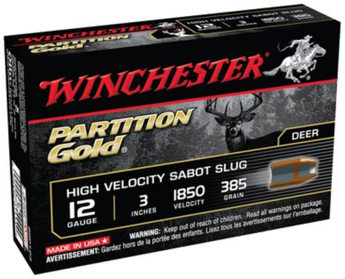 "Winchester Supreme Partition Gold 12 ga 3"" 385gr, Sabot Slug Shot 5rd/Box"