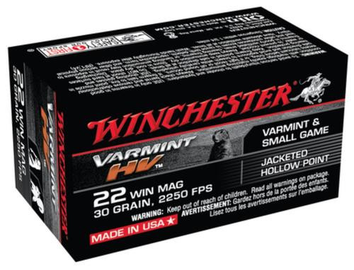 Winchester Varmint HV .22 WMR, 30gr, Jacketed Hollow Point 50rd Box