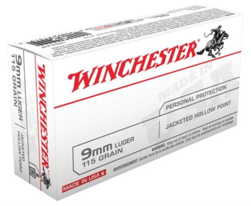 Winchester USA 9mm 115gr, Jacketed Hollow Point, 50rd Box