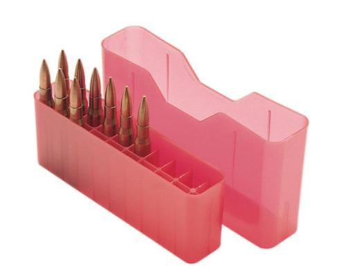 MTM Case Gard J-20 Slip-Top Boxes .300 to 7mm Magnum Caliber Clear Red