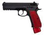 """CZ 75 SP-01 9mm, 4.6"""" Barrel, Black / Red Henning Aluminum Grip/Mag Cap, 22rd"""