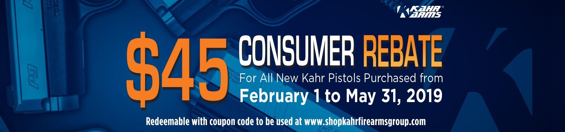 Kahr $45 Consumer 2019 Rebate