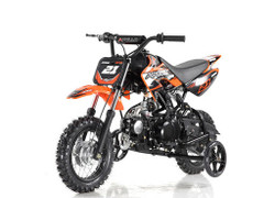 Apollo DB-21 70cc Semi Automatic DIRT BIKE, 4 Stroke Air Cooled w/ Training wheels