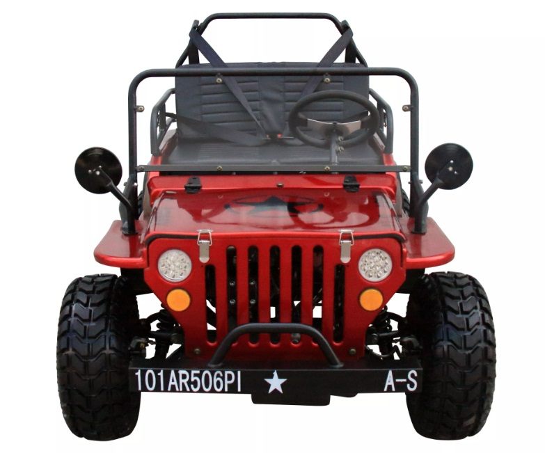 Mini Jeep 6125A Gas Golf Cart 125cc Jeep Mini Truck ELITE Edition with 3-Speed Transmission w/Reverse, Custom Rims And Fender Flares