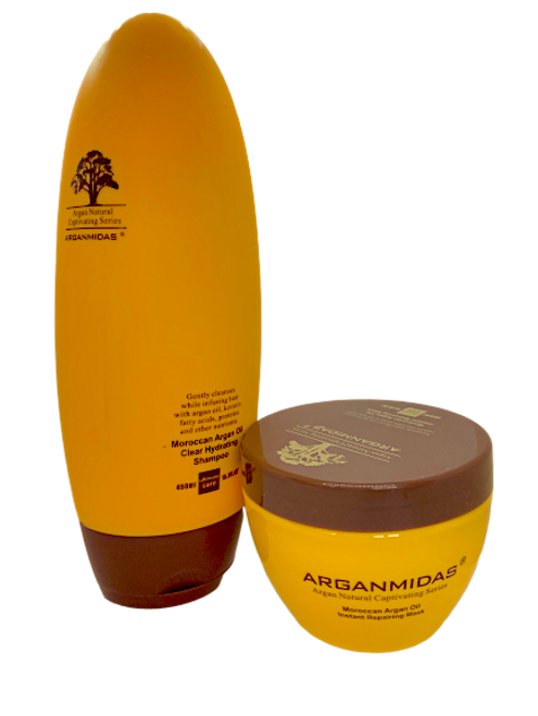 Arganmidas Moroccan Argan Oil Instant Repairing Mask 300ml+Arganmidas clear hydrating shampoo 450ml