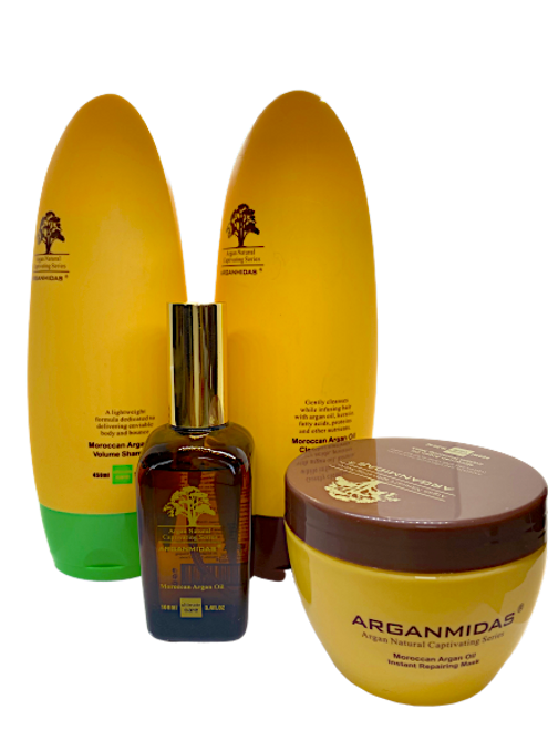 Arganmidas Moroccan Argan Oil Volume Shampoo 450ml+ Arganmidas Clear Hydrating Conditioner 450ml+Arganmidas instant Repairing Hair Mask 300ml+Arganmidas Argan Oil 100ml