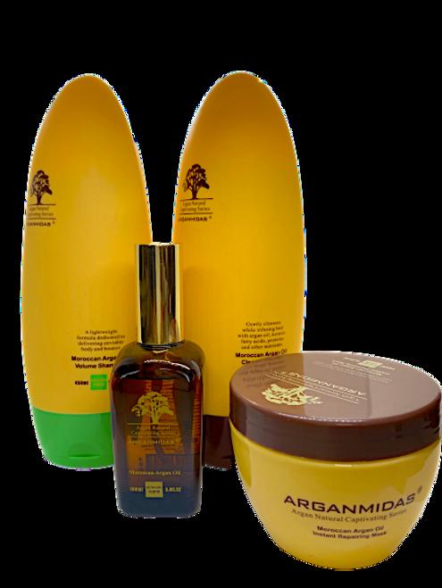 Arganmidas Moroccan Argan Oil Volume Shampoo 450ml+ Arganmidas Clear Hydrating Conditioner 450ml+Arganmidas instant Repairing Hair Mask 300ml+Arganmidas Argan Oil 100ml