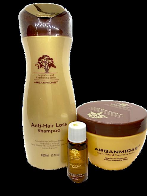 Arganmidas Anti Hair Loss Shampoo 300ml+Arganmidas Anti hair loss serum 15 ml+ Arganmidas Instant Repairing Hair Mask 300ml
