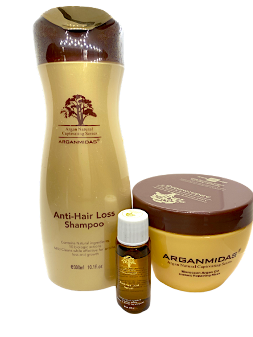 Arganmidas Anti Hair Loss Shampoo 300ml+Arganmidas Anti hair loss serum 15 ml+ Arganmidas Instant Repairing Hair Mask 300ml