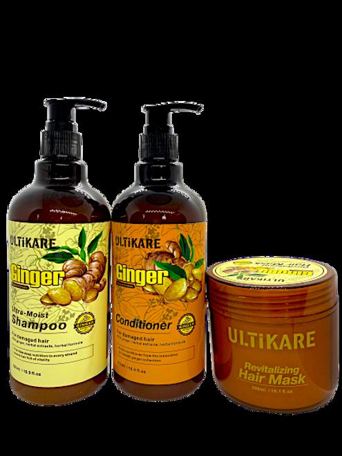 Ulticare Ginger Ultra -Moist Shampoo 500ml+Ulticare Ginger Conditioner 500ml+ Ulticare Revitalizing Hair Mask 300ml