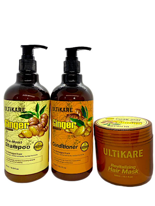 Ulticare Ginger Ultra -Moist Shampoo 500ml+Ulticare Ginger Conditioner 500ml+ Ulticare Revitalizing Hair Mask 300ml