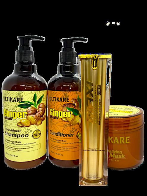 Ulticare Ginger Ultra -Moist Shampoo 500ml+Ulticare+ Ginger Conditioner 500ml+ Ulticare Revitalizing Hair Mask 300ml+Maxi gold hair oil 50ml
