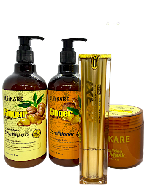 Ulticare Ginger Ultra -Moist Shampoo 500ml+Ulticare+ Ginger Conditioner 500ml+ Ulticare Revitalizing Hair Mask 300ml+Maxi gold hair oil 50ml