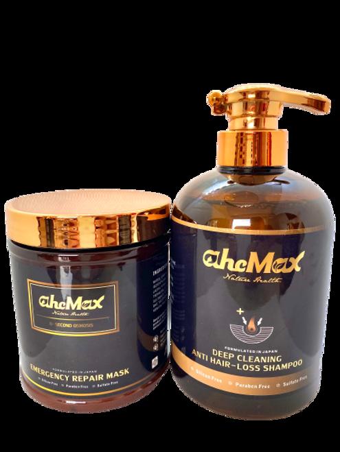 AHCMAX DEEP CLEANSING ANTI HAIR-LOSS SHAMPOO 628ml+AHCMAX Emergency repair hair mask 500ml