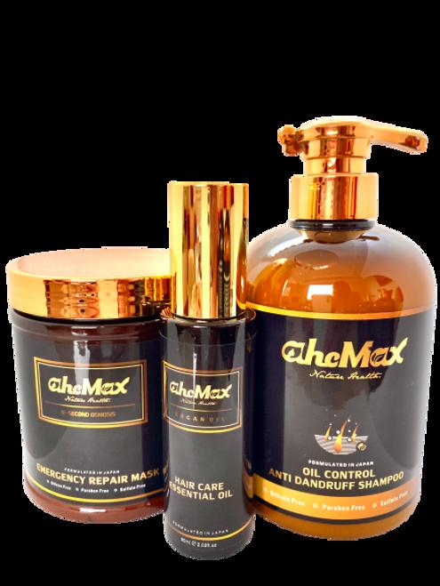 AHCMAX OIL CONTROL ANTI-DANDRUFF SHAMPOO 628MLAHCMAX +Emergency repair hair mask 500ml+AHCMAX hair care essential oil 60ML