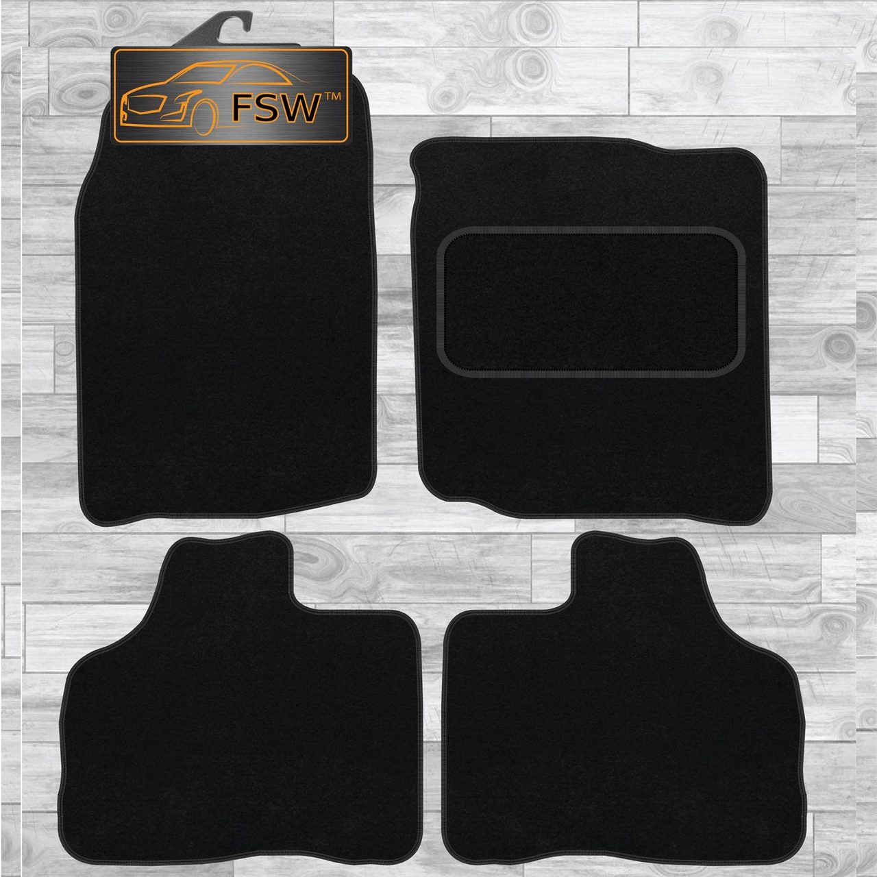 Ford S Max 06 Onwards Richbrook Grey Carpet Car Mats with Leather Trim