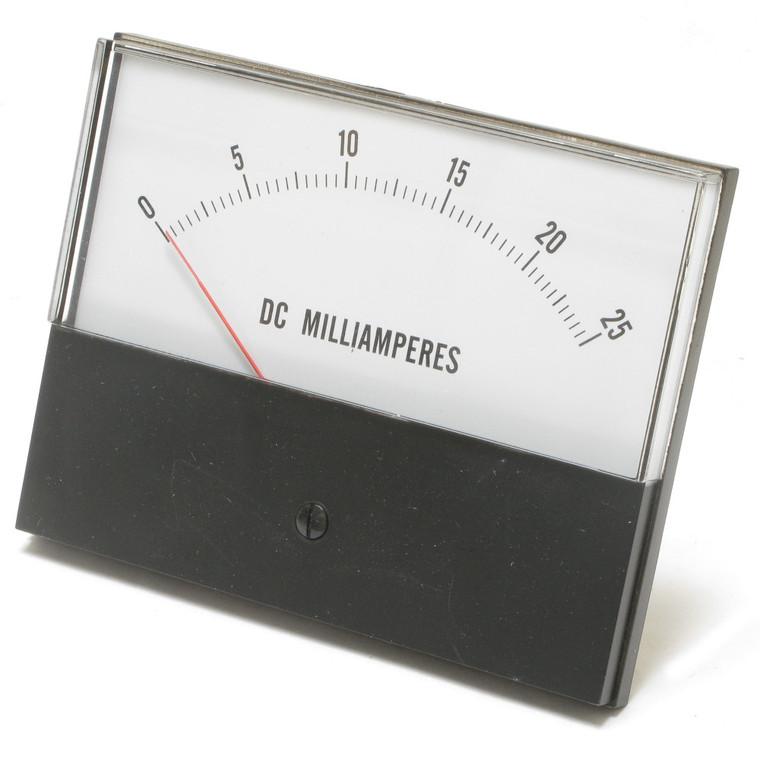 0 - 25 Milliampers DC, Analog Panel Meter, 4.5 Inch