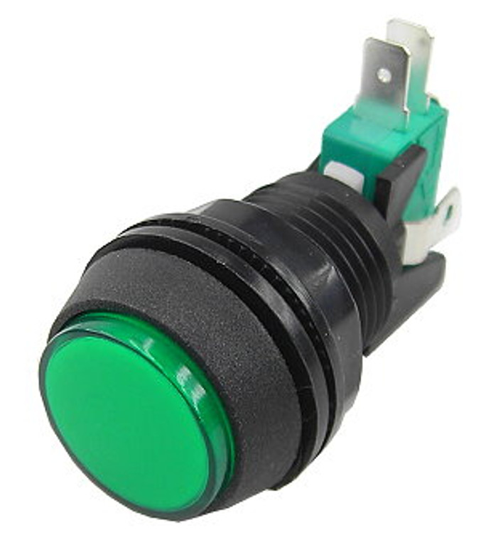 1 Inch Push Button Lighted Game Switch - Green