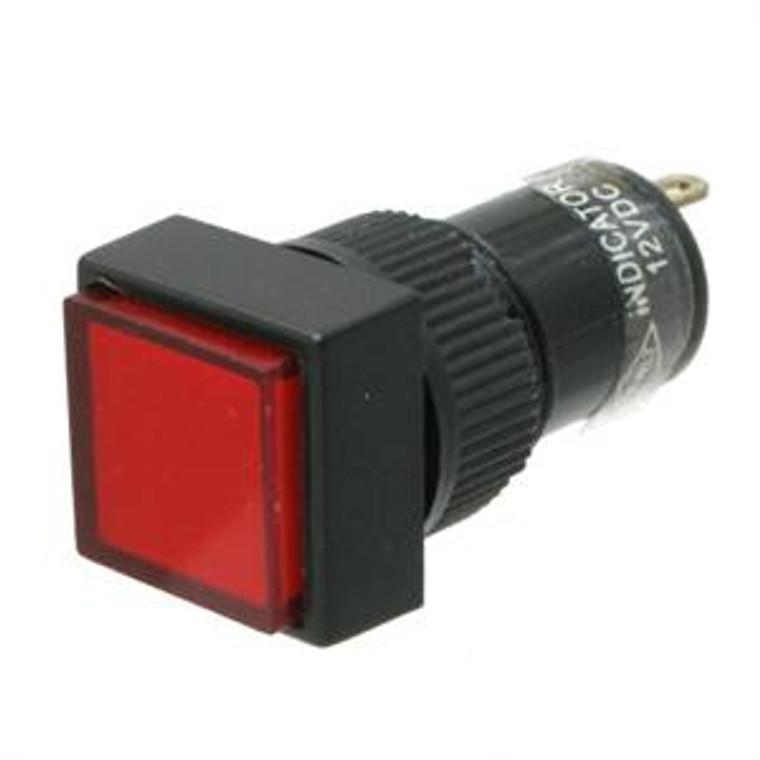 Square Mini Panel Light, 12 Volt DC Red