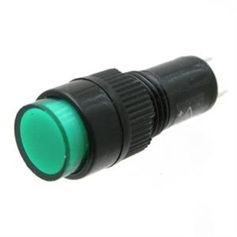 Round Miniature Panel Light, 12 Volt DC Green