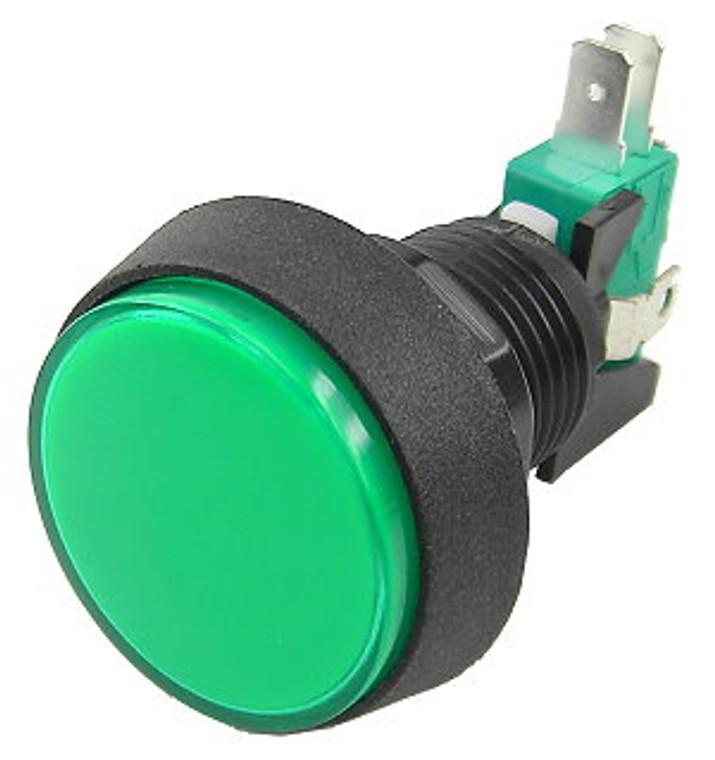 1-1/2 Inch Push Button IlluminatedGame Switch - Green