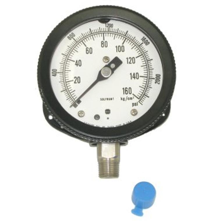 0 - 2300 PSI Pressure Gauge, 4 1/2 Inch Dial.