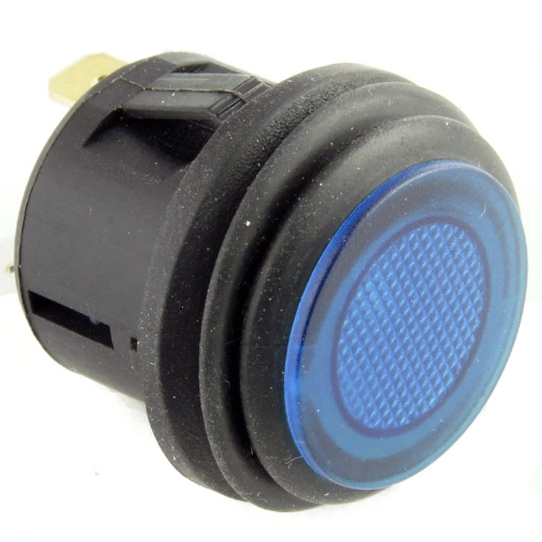 Push Button Switch SPST Illuminated Blue