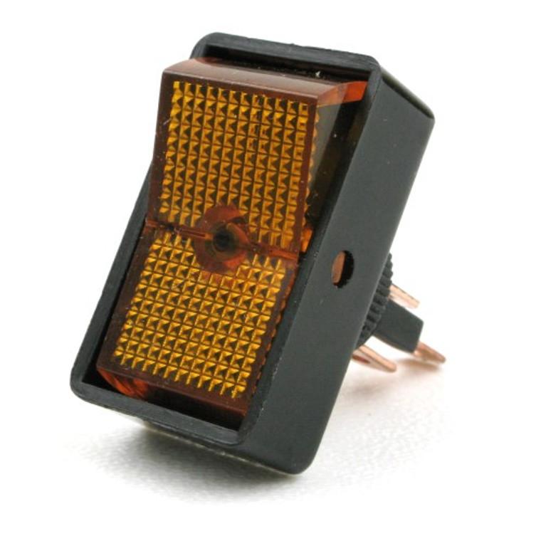 Lighted 12V Rocker Switch SPST 20 Amp Amber