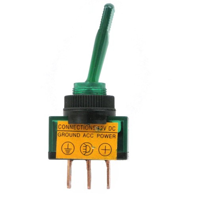 Lighted 12V Paddle Toggle Switch SPST 20A Green