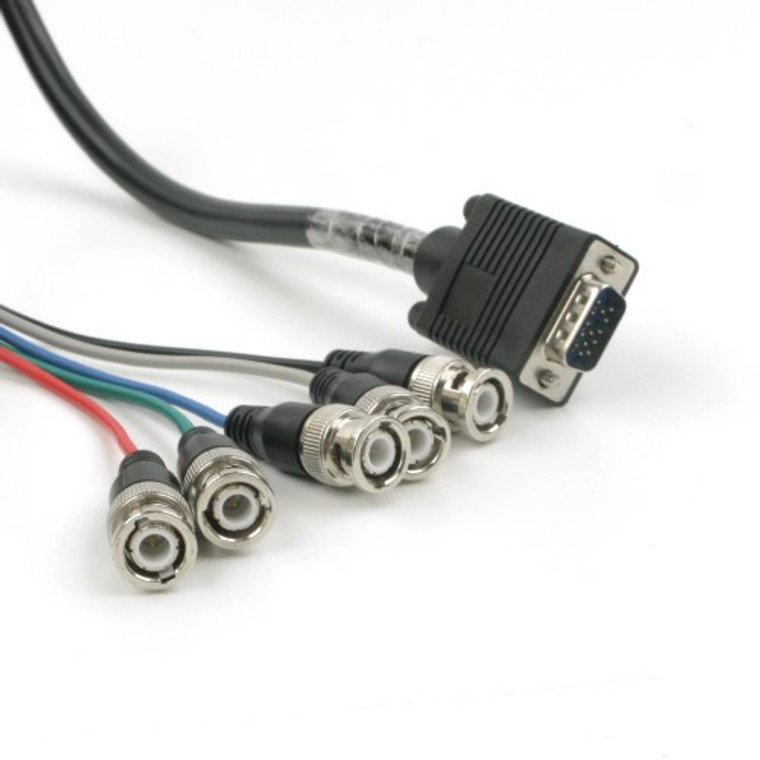 SVGA to 5 BNC (RGBHV) Breakout Cable, 75 Foot