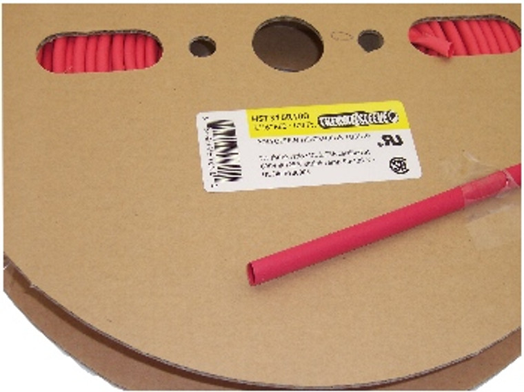 1/8 Inch Heat Shrink Tubing 100 Foot Roll Red