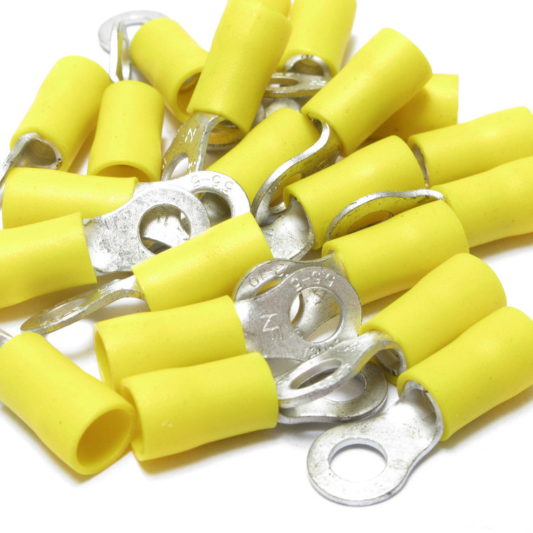 12 - 10 Awg Insulated Ring Terminals, 100 Piece Bag